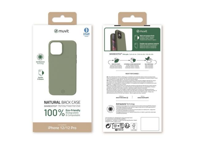 Muvit Change - MUVIT FOR CHANGE COQUE BAMBOOTEK MOSS: APPLE IPHONE 12/12 PRO